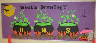 halloween bulletin board could have a separate cauldron for each