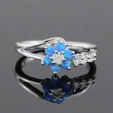 rings with opal images Flower blue fire opal rings for women cosless jpg