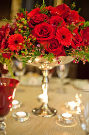 rose arrangement in silver yule christmas holiday decor