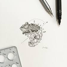 breathtaking half geometric chameleon tattoo design tattooimages biz