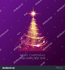 magic shining christmas tree sparkle gold stock vector 539238472
