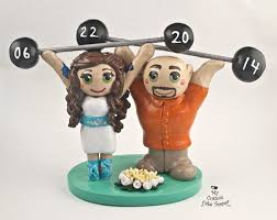 weight lifting cake topper and groom weight lifting cake topper my custom cake topper