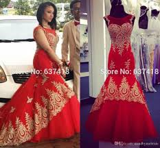 mermaid red prom dresses 2017 gold applique arabic style cap