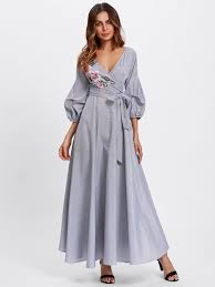 sleeve wrap dress flower patch puff sleeve surplice wrap dress shein sheinside
