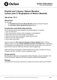ks2 literacy biography and autobiography nelson mandela biography autobiography by oxfam teaching