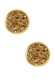 druzy stud earrings rivka friedman 18k gold clad gold druzy stud earrings