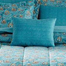 Peacock Colour Cushions Mainstays Bed In A Bag Bedding Comforter Set Peacock Feather