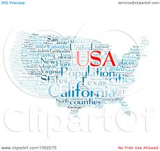 United States Map Clip Art by Clipart United States Map Word Collage 3 Royalty Free
