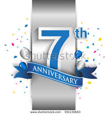 new years or birthday party invitation stock image 7th anniversary logo silver label blue stock vector 551135683