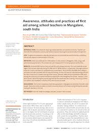 awareness attitudes and practices of first aid among