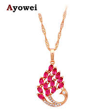 rose tone necklace images Rose peacock design zircon fashionable necklaces gold tone jpg