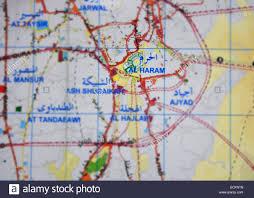 Mecca On Map Mecca Map And Masjidil Haram In Kingdom Of Saudi Arabia Stock