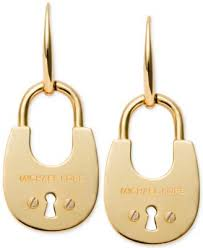 lock earrings michael kors gold tone pavé lock drop earrings