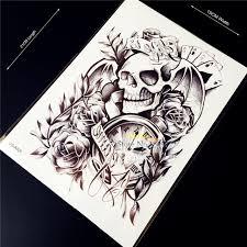1pc sale black death skull bone head flash waterproof tattoo