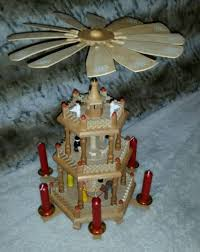 large rotating german wood nativity pyramid candle