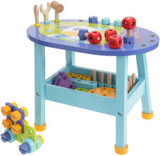 furniture aluminum work bench and rounded blue art deco for kids