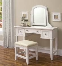 Wood Vanity Table Bedroom White Tsained Wood Vanity Table With Double Drawer And
