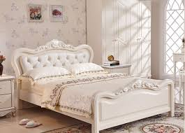 White Princess Bed Frame Luxury Bed Ivory White Flannel Real Wood Bed European Style