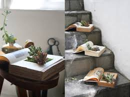 how to make your own book planters for succulents apartment therapy