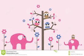 wall decoration owls elephants stock vector image 44465752