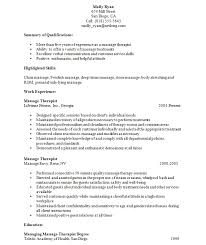 Occupational Therapy Resume Template Resume Examples For Massage Therapist Massage Therapist Resume