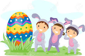 illustration of kids on an easter egg hunt stock photo picture
