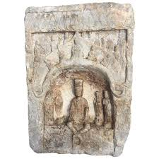 antique large buddha ornament family shrine