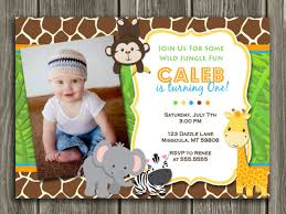 Jungle Birthday Card Printable Jungle Birthday Invitation Photo Invite Boys First