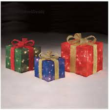 pre lit christmas gift boxes outdoor lighted christmas presents tinsel gift boxes prelit