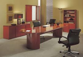 Executive Office Desk Furniture Office Desk Cool Wooden Computer Desk With Lamp And White Chairs