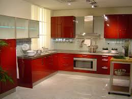 Acrylic Kitchen Cabinets by Beautiful L Shape Modern Style Kitchen Features Orange Color