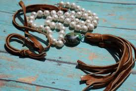 etsy necklace pearl images Jewels fleurdesignz pearl and leather necklace tassel jpg