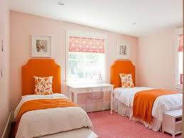 endearing image of bedroom decoration with various girl bedroom entrancing picture of shared girl bedroom decoration using single tufted orange girl headboard including light pink