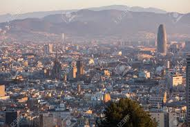 barcelona city view morning panoramic view of picturesque barcelona cityscape spain