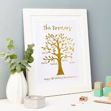 personalised gold metallic family tree framed print by tillie mint