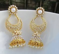 bridal jhumka earrings pearl chandbali jhumkas indian jewelry pearl by alankaar