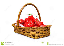 wicker basket filled with red fruits isolated on white background