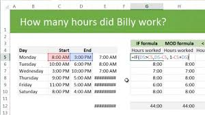 calculating total working hours using excel example u0026 discussion