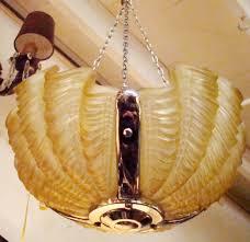1930 u0027s french art deco clam shell amber light fixture modernism