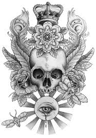 skull tattoo design with royal crown roses eye peacock feathers