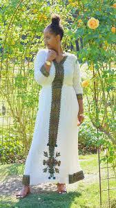 Habesha Dress Mosaic Green Empire Waist Tight Cuff V Neck Zuria