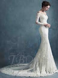 lace mermaid wedding dress sheer scoop neck zipper up sleeves lace mermaid wedding dress