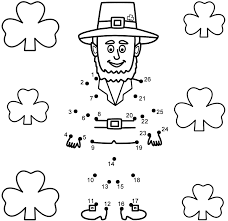 leprechaun with shamrocks connect the dots count by 1 u0027s st