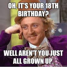18th Birthday Meme - oh it s your 18th birthday well aren t you just all grown up
