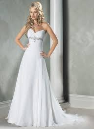 White Wedding Dresses White Sweetheart Beaded Chiffon A Line Princess Wedding Dress