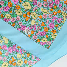 silk scarf turquoise with ditsy floral print