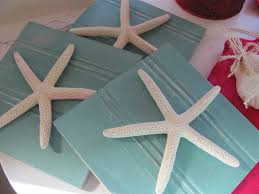 aqua starfish plaques wall decor set of 3 beach cottage