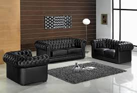 Leather Button Sofa Furniture Black Leather Button Tufted Living Room With Grey