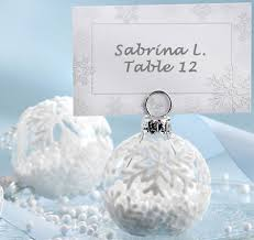 snow flurry glass ornament place card holdert wedding place card