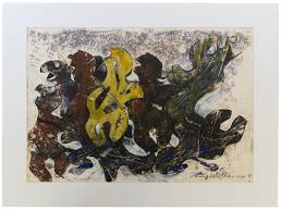 margo veillon metamorphose 1967 mixed media on paper 30 x 50